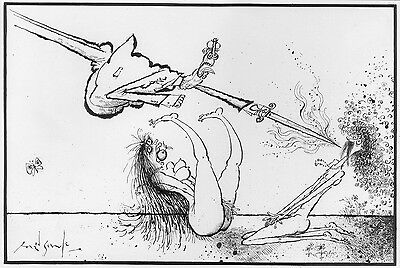 Ronald Searle Original Illustration 'Adam and Eve and the Flaming Sword of PC'