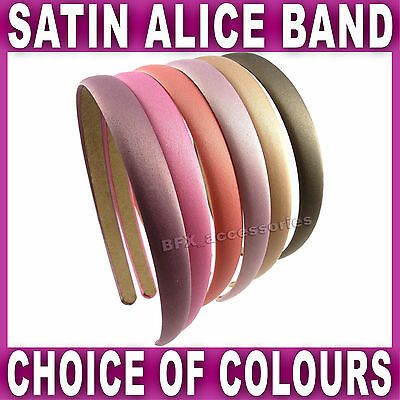 Satin ALICE BAND headband fabric head hair band aliceband 1.5 cm WIDE 6 colours