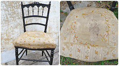 "1890s VictorianFrench twisted black wood & "" tapestry "" lady's chair"