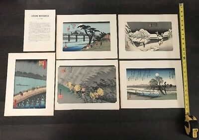 Lot Of 5 Andoh Hiroshige Japanese Landscape Woodblock  MAKE OFFER 12.5 X 8.5