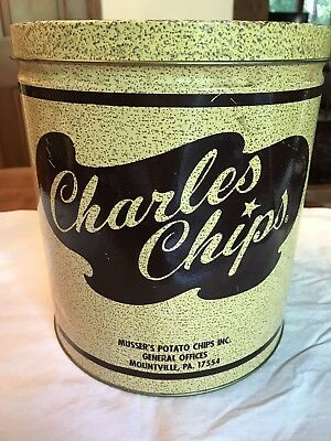 VINTAGE CHARLES CHIP TIN CAN, 1 LB, Very Good Condition
