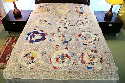 FULL Vintage ANTIQUE Hand Sewn Feed Sack Cotton TOUCHING STAR QUILT; Needs TLC!