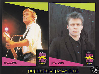 BRYAN ADAMS 2 CARD SUB SET Pop Music Star Canada Rocker