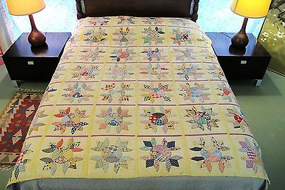 "Vintage ANTIQUE Hand Sewn Feed Sack Cotton DUTCH TULIP Applique QUILT, 79"" x 70"""