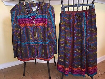 Square Dance Ladies Bright Purple & Teal Top & Skirt- Size 16/18