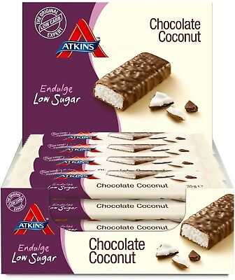 Atkins Endulge Chocolate Coconut Low Carb Low Sugar Snack Bar 15 Of 35g Bars NEW
