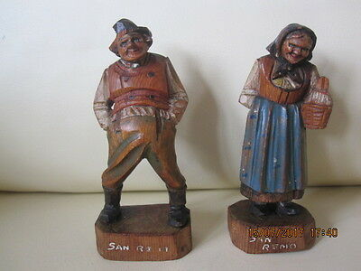 Antique Vintage Carved Wooden Figures Man & Lady Black Forest Anri