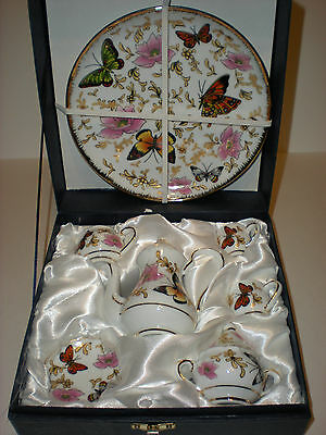 EXQUISITE VINTAGE PORCELAIN CHINA MINIATURE 10 PC BUTTERFLY TEA SET New In Box