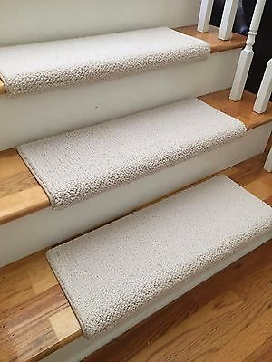 Allure Ivory New Zealand Wool TRUE Bullnose™ Carpet Stair Tread JMish