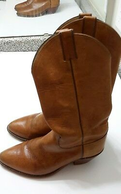 Justin 1106 Mens US 8.5 D Tan Leather Casual Cowboy Western Pull On Boots
