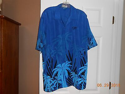 Palms Casino Resort Las Vegas Man's  Hawaiian  Button Shirt Blue Size XL