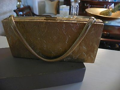 Vintage 1940's...ladies Purse, Clutch, Evening Gold Metal Bag With Orig. Box