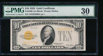 AC Fr 2400 1928 $10 Gold Certificate PMG 30 comment