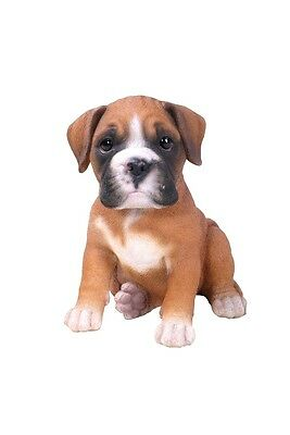 Sitting BOXER Puppy Dog Life Like Realistic Figurine Statue Home Garden Decor