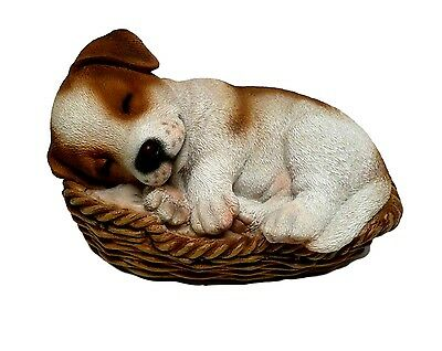 Jack Russell Terrier Puppy Dog in Basket  Realistic Figurine Statue Home Decor