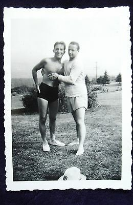 Vintage/1940's /2 Young Handsome/affectionate Men/  Posed Holding On  Gay