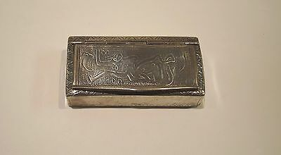 Antique Tunisian Islamic Arabic .800 Silver Snuff Box, Tunisia North Africa