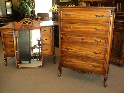 French Provincial Satinwood Dresser and Chest of Drawers, circa 1930's