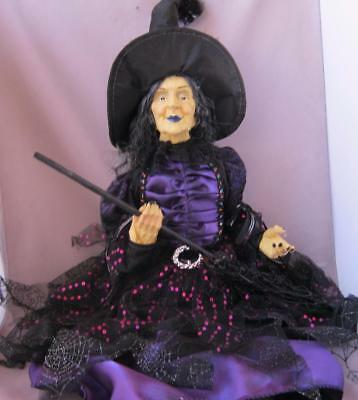 Extravagant Large Halloween Glamour Witch with Attitude Purple Red and Black