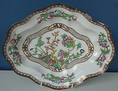 """BOOTH'S SILICON CHINA """"INDIAN TREE"""" #7908 VEGETABLE SERVING DISH - 12"""" 1906 Chip"""
