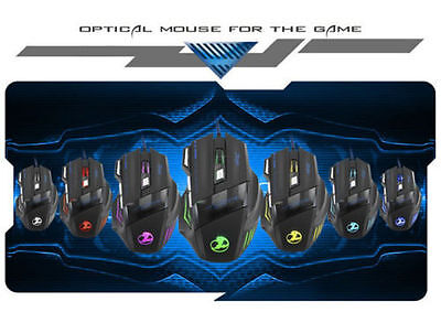 ZELOTES 7200 DPI 7 Button LED Optical USB Wired Backlight Gaming Mouse Pro Gamer