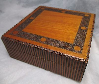 Antique Vintage Tobacco / Cigarette Box humidor Very Ornate Hand Carved polish ?