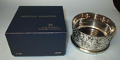 Vintage Silverplate Silver Plate Bottle Coaster in Original Box