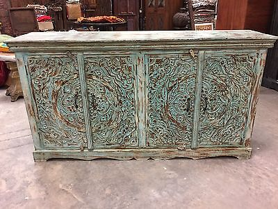Turquoise Blue Sideboards Chest Ornate Lotus Carved Double Door Storage Buffet