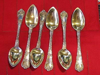 "Six Dessert Spoons 950 Sterling Silver Philippe Berthier Paris France 7"" NoMono"