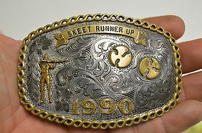Vintage 1990 Silverplated & Brass Skeet Shooting Belt Buckle Award Runner Up 2ND