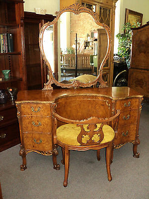 French Provincial Louis XV Vanity & Chair, Burl Acacia Wood by Rom Weber