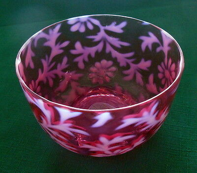 Fenton / L.G. Wright Cranberry Opalescent Daisy and Fern Finger Bowl Mid-20th C