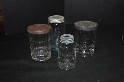 4 Jars - 2 Jelly - 1 Mason Bank Zinc Lid - 1 Old Blue Jar Zinc Lid
