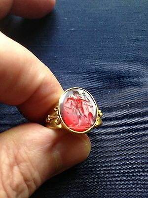 Antique Roman 23K Gold Intaglio Seal Ring *rare*