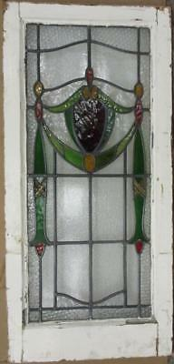 """LARGE OLD ENGLISH LEADED STAINED GLASS WINDOW Pretty Crest 37.25"""" x 17.75"""""""