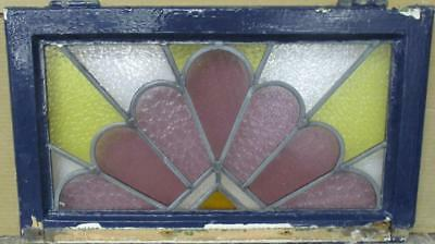 """OLD ENGLISH LEADED STAINED GLASS WINDOW Abstract Sunburst 22.5"""" x 13.5"""""""