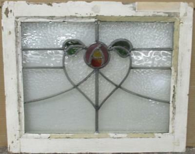 "OLD ENGLISH LEADED STAINED GLASS WINDOW Pretty Abstact Heart 20.5"" x 16.5"""