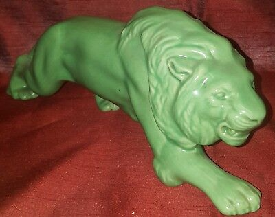 """Vintage Ceramic Green Painted Lion Figurine Statue McCoy Styled 14"""" Long"""