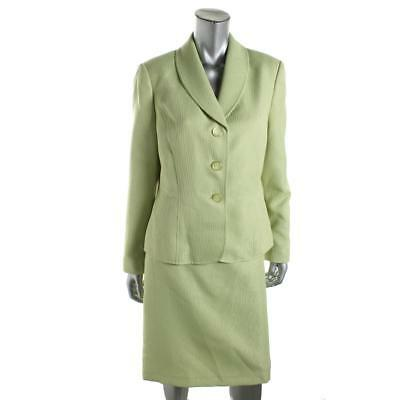 Le Suit 2145 Womens Yacht Club Green Shimmer 2PC Pencil Skirt Suit 12 BHFO