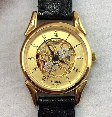 FOSSIL Gold Tone Skeleton Face Analog Women's Watch Black Leather Band