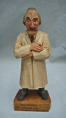 Vtg Hand-Carved Wooden Figure Man Psychiatrist Made In Germany