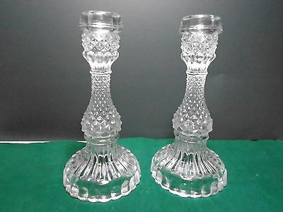 Cut Glass  Crystal Glass Vintage Glass Candle Holders Pair