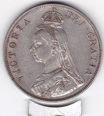Very  Sharp  1889   Large  Double  Florin  (4/-)  Silver (92.5%)  Coin