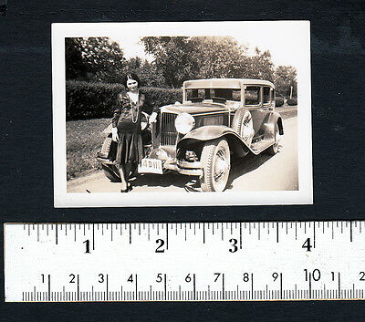 Pretty Flapper Girl With Fancy Old Car...1920s Snapshot Photo..#603P