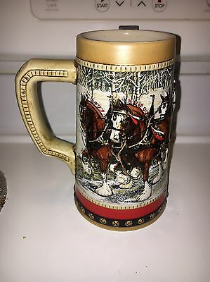 1988 Anheuser Busch Budweiser Holiday Christmas Beer Stein Clydesdales