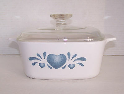 Corning Ware BLUE HEARTS  A-1 5-B Casserole 1.5 L with Glass Pyrex Lid A-7-C