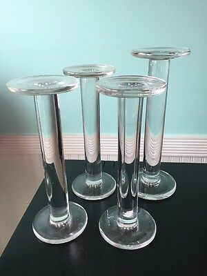 set antique 19th century clear glass hat stands store displays cottage farmhouse