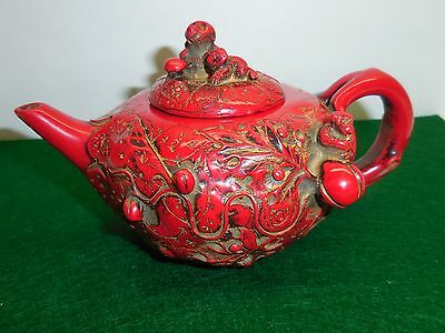 "Chinese Red Coral Hand Carved Monkey Teapot - 6 ¼"" Long x 3 ¾"" High"
