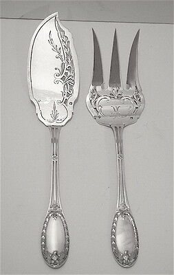 Antique  French Sterling Silver Louis Coignet Serving Fork & Knife Eagle Handles