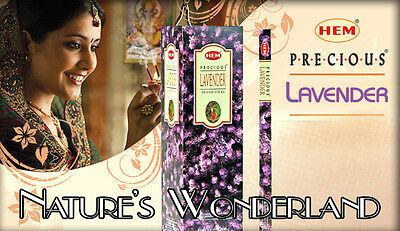 PRECIOUS LAVENDER Incense by HEM 25 x 8gm Square 1 FULL BOX = 200 Sticks, Peace
